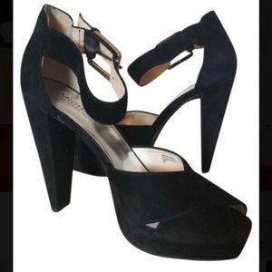Michael Kors Kincade black suede heels